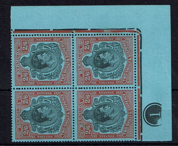 British Commonwealth Stamp Bermuda SG 117-117be UMM block of 4 plate 1