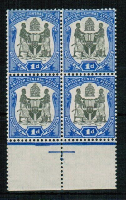 British Commonwealth Stamp Nyasaland SG 43w in a block of 4 UMM