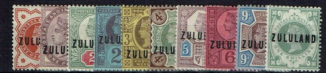 British Commonwealth Stamp Zululand SG 1-10 MM